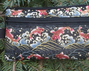 Japanese mini wallet, purse organizer, wristlet, Koi and Waves, Sweet Pea, Pick Your Color