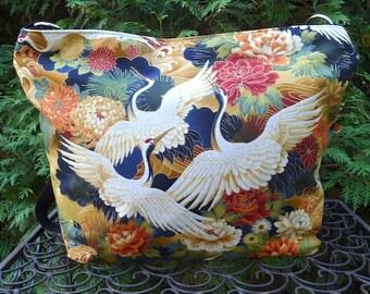 Large Japanese purse, shoulder bag, handbag, cross body bag, 3 Cranes, The Large Tootsie