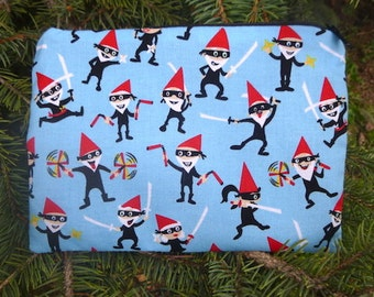 Ninja Gnomes zippered pouch, make up bag, makeup case, accessory bag, zippered bag, The Scooter