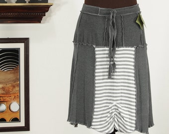 gray and white striped upcycled skirt, drawstring waist