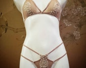 Burlesque/ lingerie /bridal boudoir G-string & triangle bra sheer tan nude with appliqué and Swarovski crystals