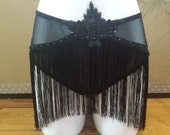 Sheer black fringe knickers with lace and Swarovski crystals burlesque costume/lingerie