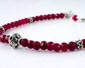 Ruby Red Corundrum Silver Stacking Bracelet Gemstone Sterling Silver Bracelet