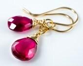 Raspberry Corundrum 14 Karat Gold Fill Earrings
