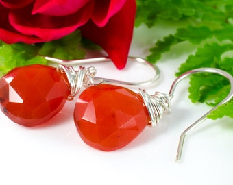 Faceted Carnelian Teardrop Briolette Sterling Silver Earrings