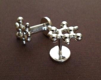 Caffeine Molecular Cufflinks in sterling silver