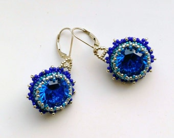 Beadwoven Sterling Silver Earrings. Beaded Blue Swarovski Earrings. Sophisticated Sapphire Stones Gemstones - Blue by enchantedbeads on Etsy