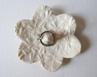 Dragonfly textured Ring Holder - White Ring Dish - Raised dragonfly texture Ring Bowl