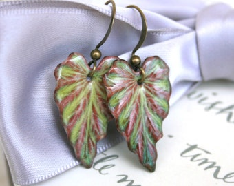 Fall Leaf earrings - Enameled Ivy leaf