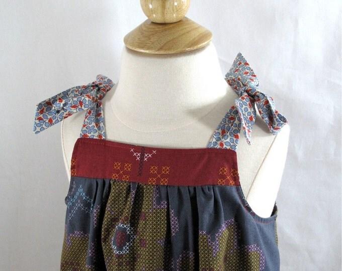 Needlepoint Stripe Toddler Girls Summer Sundress - Baby Dress - Toddler Dress - Girls Dress - Maroon, Teal Blue, & Gray Wide Stripes