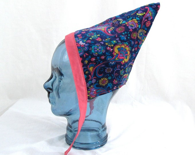 Blue Paisley Baby Pixie Reversible to Hot Pink Flannel with Pink Trim - Size 6 - 12 Months - Girls Pixie Bonnet