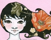 Hailey - Original ACEO illustration - Miniature art card - Mixed media original girl with green eyes and flower hair