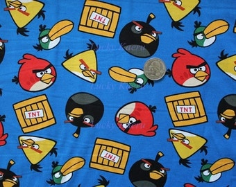 Angry Birds TNT Blue Cotton Fabric - Half Yard