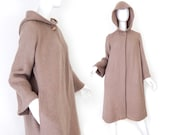 Vintage 70s J Tiktiner Hooded Mohair Sweater Coat - Size Small - Soft Drapey Sable Brown French Designer Winter Coat - A Line Minimalist