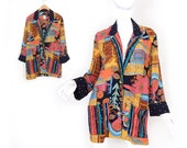 Sz 4 Oversized Abstract Print Womens Blazer - Small - Vintage 80s 90s Carole Little Rayon Jacket in Gold, Pink, Turquoise, and Black