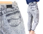 """Vintage 80s High Waisted Gray Acid Wash Lee Jeans - Size 10 PETITE - Tapered Leg High Rise Baggy Denim Mom Jeans - 29"""" Waist Short"""