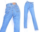 """Size 4/5 90s Levis 501 High Waisted Jeans - 26"""" Waist - Vintage Women's USA Made Button Fly Slim Fit Mom Jeans"""