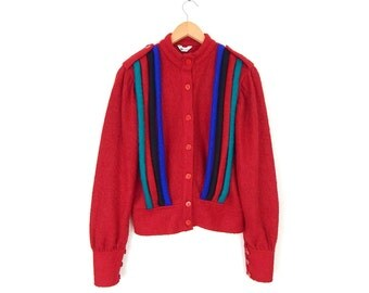 Vintage 80s Avant Garde Red Mohair Sweater - Size Small - Women's Fuzzy Unique Hipster Cardigan Sweater Jacket