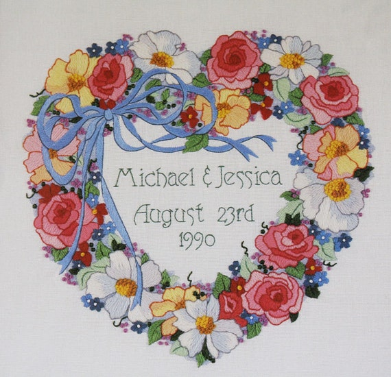 Wedding Embroidery Kit  Dimensions Sunset Wedding Heart