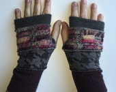 Fingerless Gloves - handmade, one of a kind!  4 strips of wool and cashmere sweaters.  Burgundy, plums, grey and houndstooth.  Repurposed.