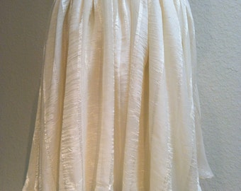 Off White Gathered Circle Skirt Organza with Satin Stripes VERY FULL