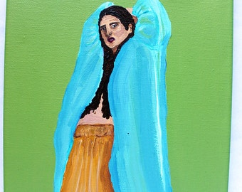 Margo on Green 8x10 acrylic fashion painting