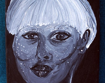 Stars in her Skin 8x10 acrylic black and white painting blonde bowl cut woman freckles