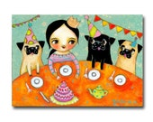 Pug Party Cute Fawn and Black Pug Dogs original painting Birthday Party celebration with dogs Folk art by Tascha