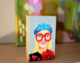 Original mini painting FASHION girl BIG red glasses small acrylic portrait painting by Artist Tascha