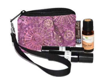 Small Essential Oil Bag - Essential Oil Pouch - Small Bag - Oil Pouch - Fast Shipping - Wine Batik Fabric