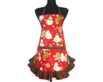 Candyland Snowman Apron for Women with Chocolate Candy Ruffle, Reto Ktichen Decor by Alexander Henry