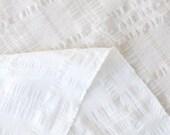 Japanese Fabric Kokka Tsumiki Plaid - textured enshuku cotton - white - 50cm