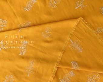 Japanese Fabric Kokka embroidered double gauze - mustard yellow - 50cm