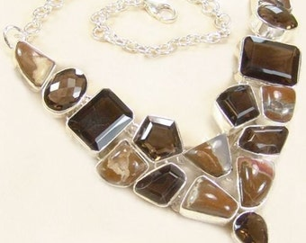 Sale: Brown Agate and Smoky Quartz Sterling Silver Necklace