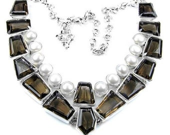 Sale: Smoky Quartz and Pearl Sterling Silver Necklace