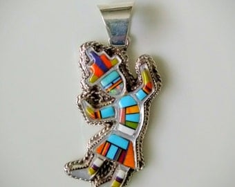 Sterling Silver and Inlay Rainbow Dancer Pendant