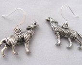 Howling Wolf Earrings  Animal Earrings Pewter Wolves Earrings