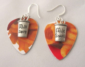 Curly French Fry Earrings Milk Shake Earrings Arby's Earrings Gift Card Guitar Pick Earrings Gift Ideas for Foodies Gift Ideas Girlfriends