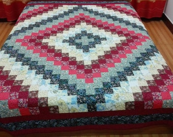 Queen  size machine quilted  Patchwork   Complete Quilt