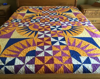 Holiday sale New York Beauty with pinwheel quilt /Queen size