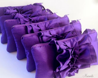 A set of 6 Custom Bridesmaids Clutches/ Fairy Tale Wedding/ Ruffle Wristlets/ Yellow Pink Ivory Green Purple And More