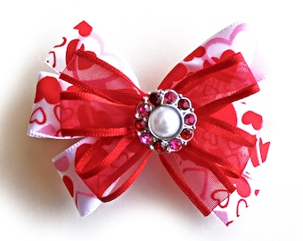 Valentine Hair Bow Clips Set of 2. Hair Bling. Girls Red and White Stacked Pinwheel Bows. St Valentine's Day Hair Accessory. Hair Clippies