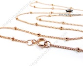 16 18 20 inch Satellite Chain (with 1.9mm bead) Necklace 14/20 Rose (Pink) Gold Filled- FC25RGF- 1 pc