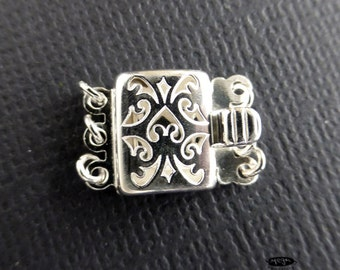 3-Strand 10mm x 8mm Filigree Rectangle Pearl Clasp 925 Sterling Silver F132-1 pc