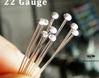 50 pcs 22 Gauge 2 inches 925 Sterling Silver Curved Flat Head Pins F42