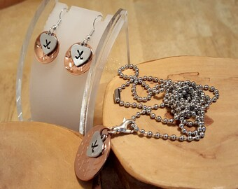 Ice or Field Hockey love hand stamped mixed metal copper and aluminum pendant necklace and earrings set