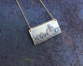 Detroit Michigan skyline necklace | Detroit skyline pendant in sterling silver, copper or brass | jewelry for her