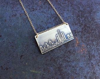 Detroit Michigan skyline necklace   Detroit skyline pendant in sterling silver, copper or brass   jewelry for her