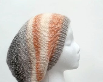 Slouchy beanie hat, colorful, hand knitted womens hats mens hats    5119