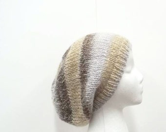 Knit beret, slouchy beanie,knitted hat, slouch hat, handmade  5074